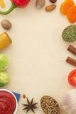 香料背景和食物 免版税库存图片