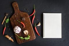 香料草本和成份的选择烹调的 免版税库存图片