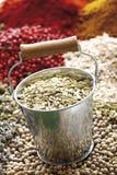 香料,在锌的茴香籽的选择在前景用桶提 免版税库存照片