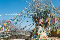 香格里拉,中国- 2015年3月13日:在拜伊吉寺庙的祷告旗子 F. stratocaster电吉他 免版税图库摄影