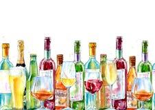 香槟、科涅克白兰地、酒、啤酒和玻璃的无缝的边界 皇族释放例证