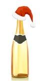 香槟克劳斯金帽子圣诞老人酒 向量例证