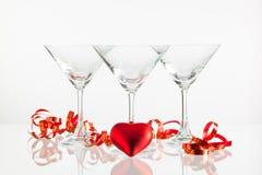 香槟和爱标志三块玻璃  库存图片