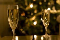 香槟圣诞节长笛 免版税库存图片