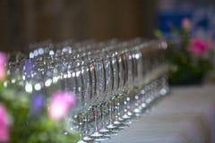 香槟构成的玻璃水平地射击了 库存图片