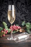 香槟气体与圣诞树的 免版税库存照片