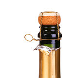 香槟瓶上面有黄柏孤立的 免版税图库摄影