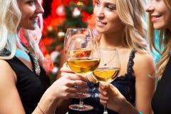 戴香槟眼镜的愉快的少妇  免版税库存图片