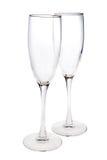 香槟空的玻璃对 免版税库存照片