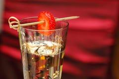 香槟草莓 免版税库存图片