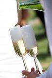 香槟被装载的玻璃等候人员 免版税库存图片