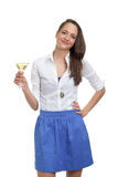香槟逗人喜爱的玻璃妇女 免版税库存图片