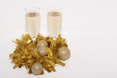 香槟长笛圣诞节的 库存照片