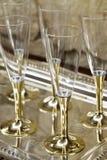 香槟阻止的玻璃金子 库存照片