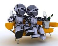 香槟饮用的机器人沙发 免版税库存图片