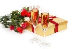 香槟giftboxes 免版税库存图片