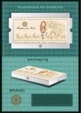 香水的包装的箱子与商标 免版税库存照片