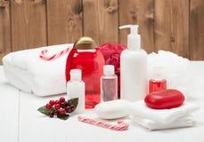 香波、肥皂酒吧和液体 化妆品,温泉成套工具 免版税图库摄影