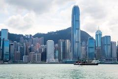 香港与船的市地平线 免版税库存照片