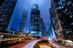 香港中心商务区在晚上 免版税库存照片