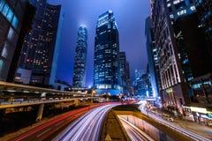 香港中心商务区在晚上 库存图片