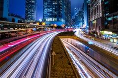 香港中心商务区在晚上 库存照片