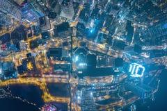 香港从天空的都市风景视图的全景图象 图库摄影