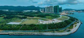 香港从天空的都市风景视图的全景图象 库存照片