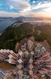 香港从天空的都市风景视图的全景图象 免版税库存照片