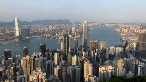 香港从峰顶的市视图 股票录像