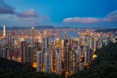 香港从维多利亚峰顶上面的观点  免版税库存图片