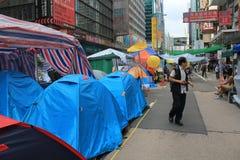 香港伞革命在旺角 免版税库存照片