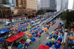 香港伞革命2014年 免版税库存照片