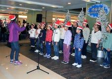 香港儿童圣诞节唱歌事件 库存照片
