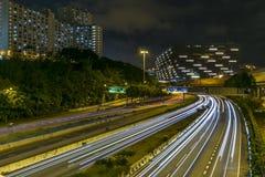 香港发光的轨道 库存照片