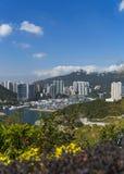 香港台风风雨棚游艇俱乐部 库存图片