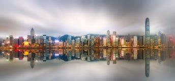 香港和财政区全景  免版税库存照片