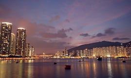 香港在晚上 图库摄影