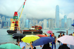香港在雨中 免版税图库摄影