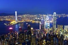 香港在从峰顶的上面的晚上 库存照片
