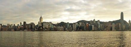 香港地平线和维多利亚港口 免版税库存图片