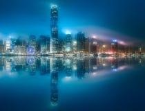 香港地平线薄雾的从九龙,中国 免版税库存照片