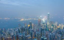 香港场面,从高峰鸟景色的维多利亚港口, 库存图片