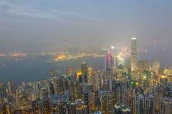 香港场面,从高峰鸟景色的维多利亚港口, 免版税库存照片