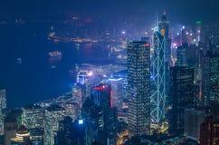 香港场面,从高峰鸟景色的维多利亚港口, 图库摄影