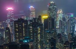 香港场面,从高峰鸟景色的维多利亚港口, 免版税库存图片