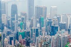 香港场面,从高峰鸟景色的维多利亚港口 免版税图库摄影