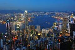 香港夜场面 图库摄影