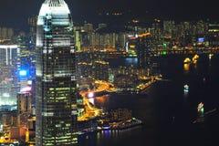 香港夜场面 库存照片