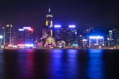 香港夜城市 图库摄影